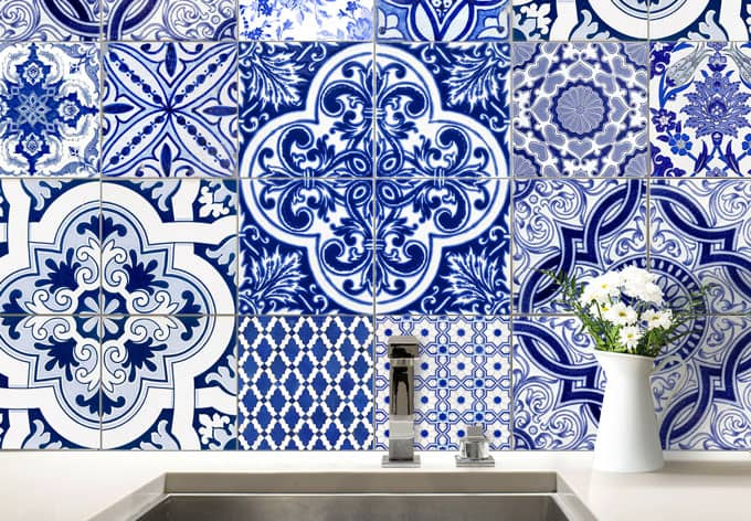 sticker carrelage azulejos portugais wall. Black Bedroom Furniture Sets. Home Design Ideas