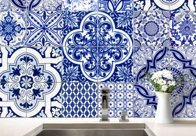 sticker carrelage azulejos portugais wall. Black Bedroom Furniture Sets. Home Design Ideas