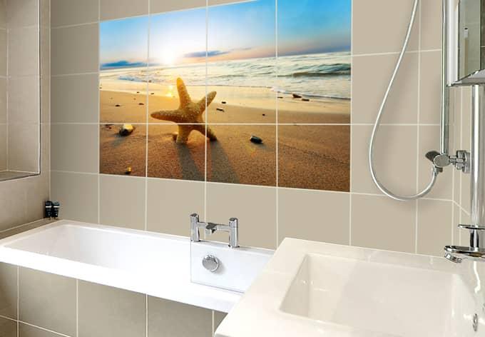 Sticker carrelage toile de mer wall for Carrelage 90x60