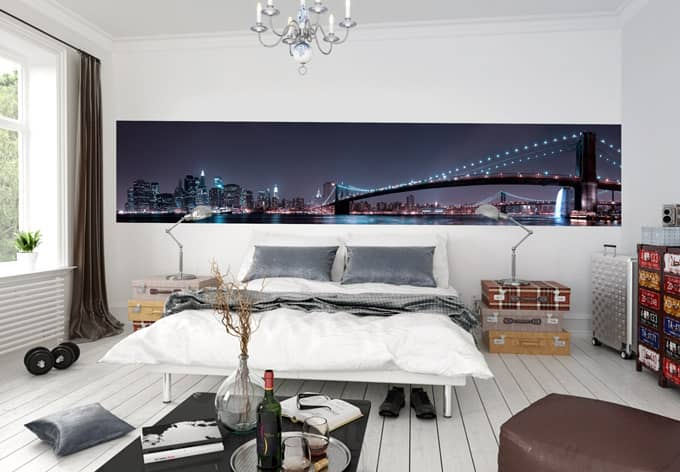 fototapete bravin manhattan skyline bei nacht panorama. Black Bedroom Furniture Sets. Home Design Ideas