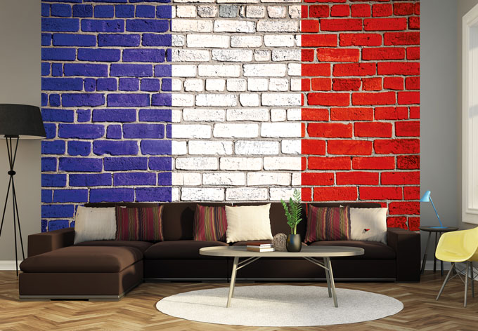 fototapete vliestapete franz sische flagge exklusiv aus der wall art kollektion wall. Black Bedroom Furniture Sets. Home Design Ideas