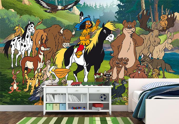 Fototapete yakari mit tieren sch ne deko f r das for Kinderzimmer yakari
