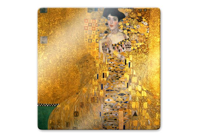 kunstdruck gustav klimt bildnis der adele bloch bauer auf glas als dekoration das lgem lde auf. Black Bedroom Furniture Sets. Home Design Ideas
