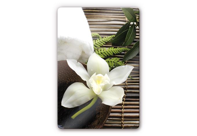 glasbild wellness orchidee entspannung f r ihr zuhause. Black Bedroom Furniture Sets. Home Design Ideas