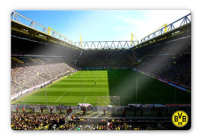 glasbild signal iduna park wandbild mit bvb stadion wall. Black Bedroom Furniture Sets. Home Design Ideas