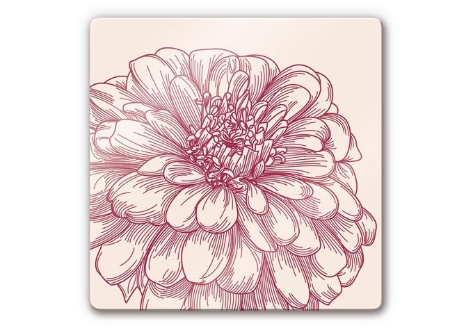 Romantische Tapeten Bord?ren : Glasbild Bl?te Illustration – romantische Deko f?r die Wand wall
