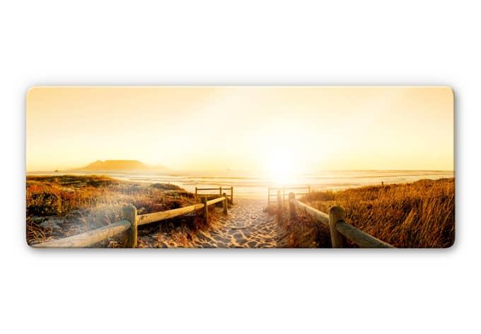 glasbild sunset at the beach sonnenuntergang auf. Black Bedroom Furniture Sets. Home Design Ideas