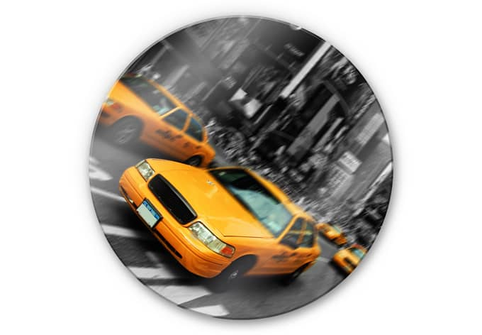 glasbild new york taxi rund mit dem taxi durch new york wall. Black Bedroom Furniture Sets. Home Design Ideas