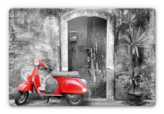 glasbild red scooter ein mopped als dekoration f r ihr zuhause wall. Black Bedroom Furniture Sets. Home Design Ideas