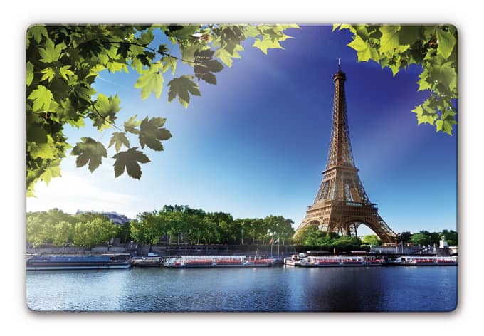 glasbild summer in paris das sommerlich gr ne paris als deko idee wall. Black Bedroom Furniture Sets. Home Design Ideas