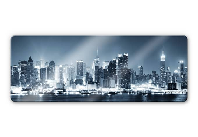 glasbild new york at night 1 coole skyline auf glas wall. Black Bedroom Furniture Sets. Home Design Ideas