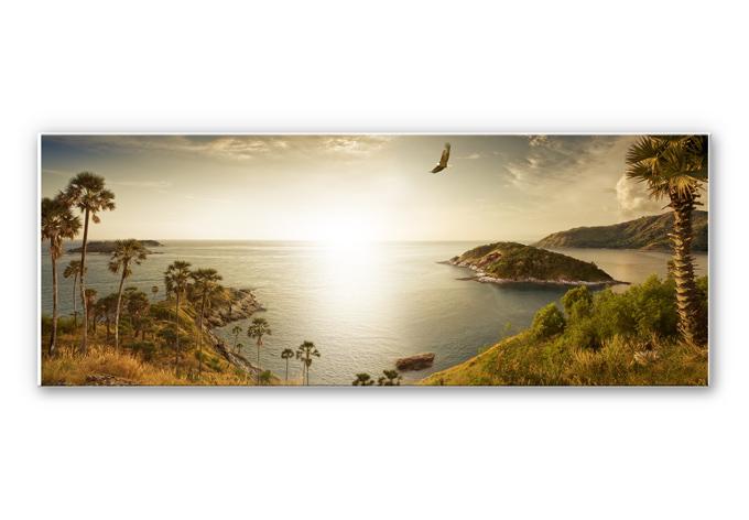 hartschaum wandbild sonnenuntergang im paradies panorama. Black Bedroom Furniture Sets. Home Design Ideas