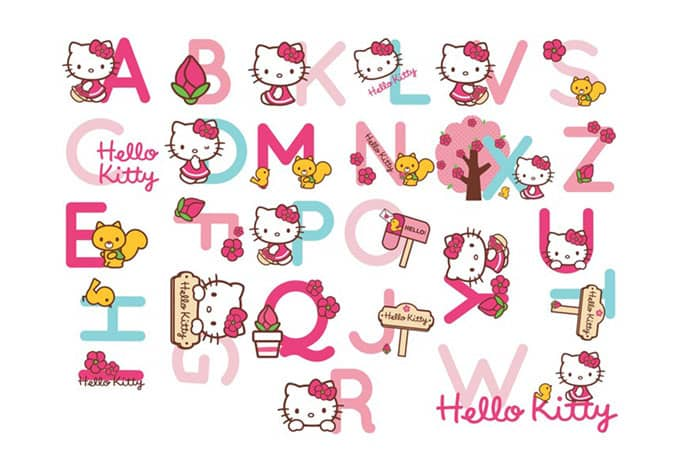 Hello Kitty Alphabet Letters Wall Art Com