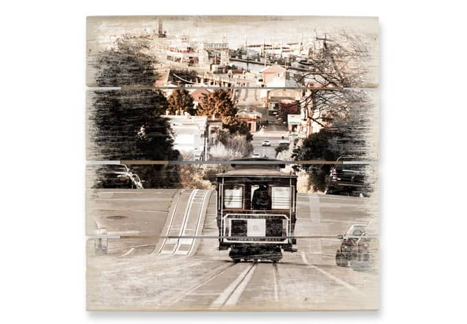 Houten Wanddecoratie San Francisco Tram - wall-art.nl