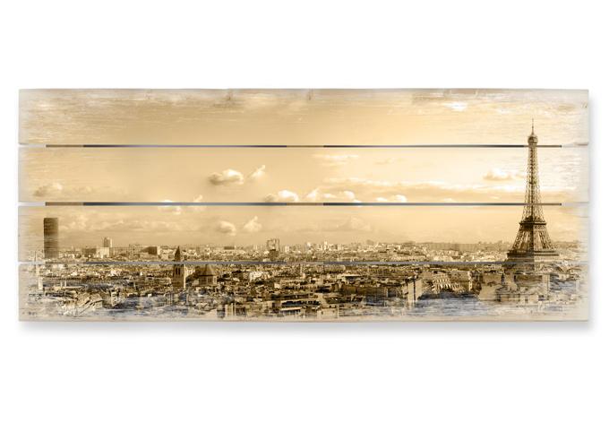Houten Wanddecoratie Paris Skyline - Panorama - wall-art.nl