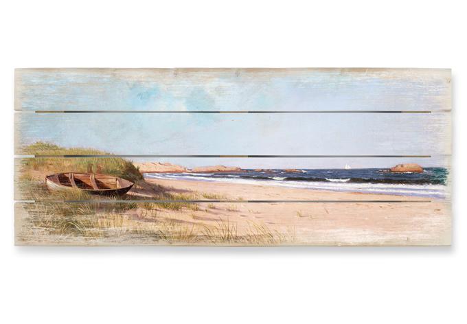 Mediterrane Tapeten Bord?ren : Holzbild Silva – Am Strand – Panorama wall-art.de