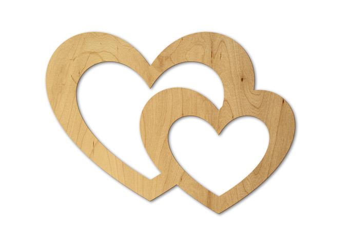 Holzdeko doppelherz wall for Holz bastelvorlagen kostenlos