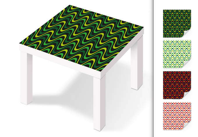 Pellicola adesiva onde in stile retro wall - Pellicola adesiva per mobili ikea ...