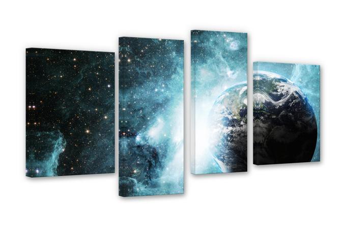 4 teiliges leinwand set in einer fernen galaxie von k l wall art wall. Black Bedroom Furniture Sets. Home Design Ideas
