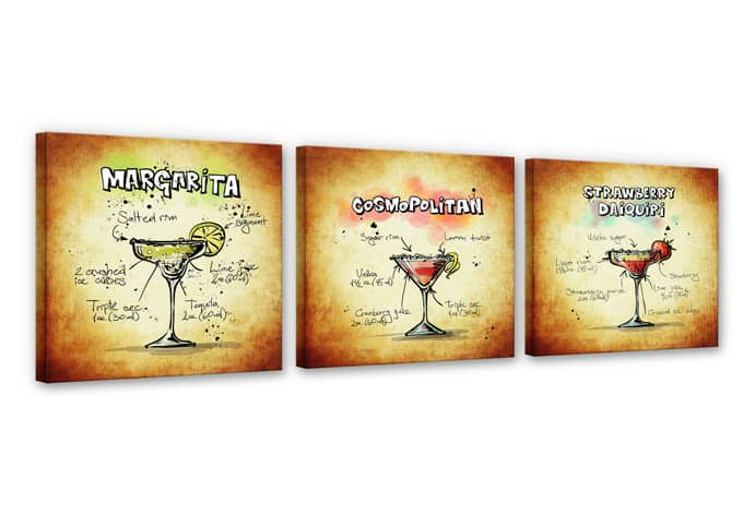 Cocktails Set 01 Canvas print (3 parts)