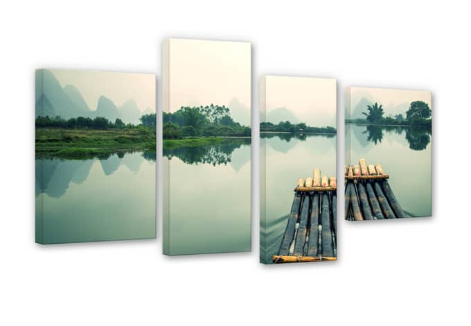 Rafting in China Canvas print (4 parts)