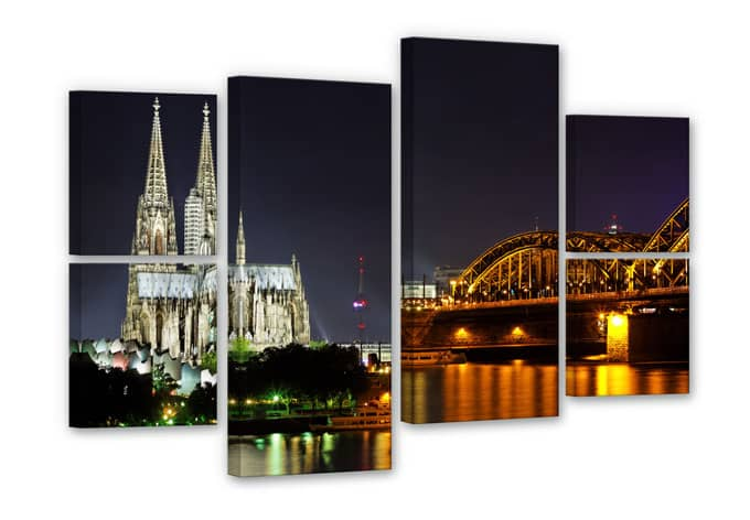 Night in Cologne Canvas print (6 parts)