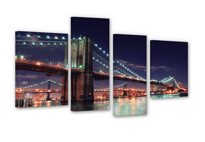 Manhattan Bridge at Night 2 (4 parts) Canvas print