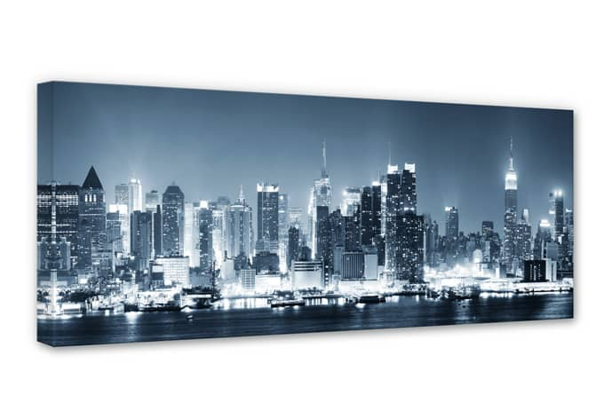 leinwand new york at night 1 coole skyline f r die wand. Black Bedroom Furniture Sets. Home Design Ideas
