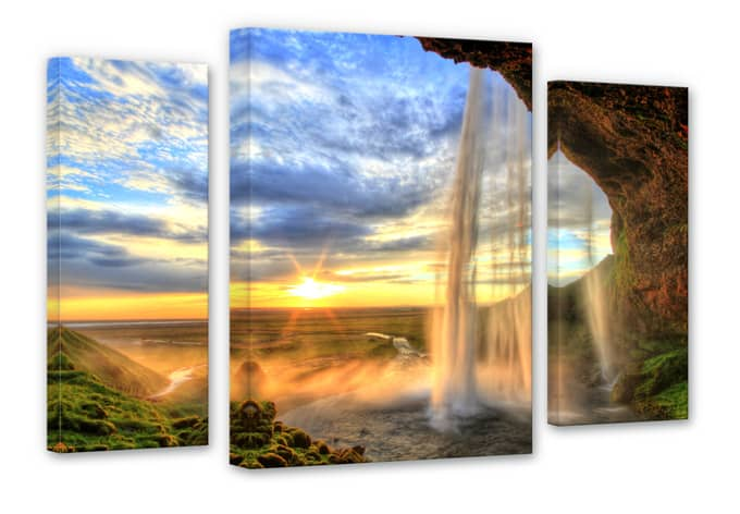 3 teiliger leinwanddruck seljalandsfoss wasserfall von k l wall art wall. Black Bedroom Furniture Sets. Home Design Ideas