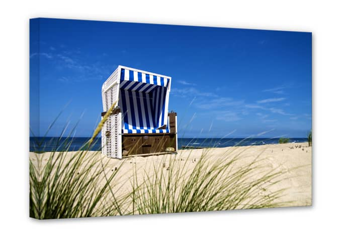 hochwertiges leinwandbild strandkorb von k l wall art das t gliche urlaubsfeeling wall. Black Bedroom Furniture Sets. Home Design Ideas