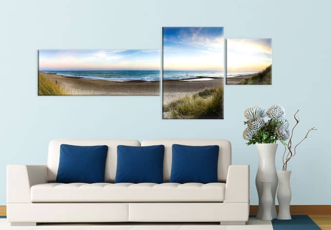 beach panorama 3 parts canvas print wall. Black Bedroom Furniture Sets. Home Design Ideas