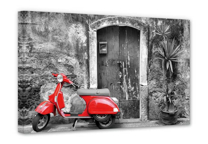 leinwanddruck red scooter motorroller als wandbild wall. Black Bedroom Furniture Sets. Home Design Ideas