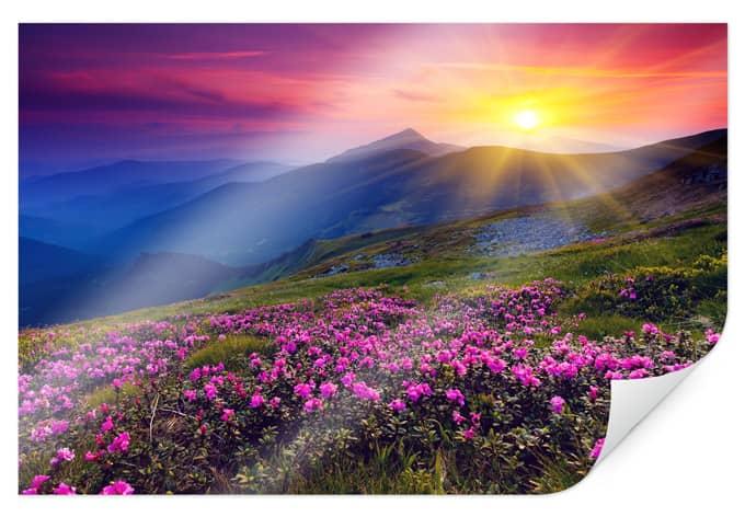 Poster sonnenuntergang in den bergen wall - Tesa fensterfolie ...