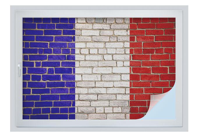 Pellicola adesiva per vetri muro con bandiera francese - Pellicola finestre privacy ...