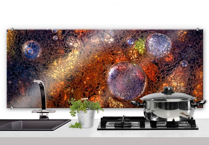 Cr dence giudici verre abstrait wall for Evier cuisine 120x50