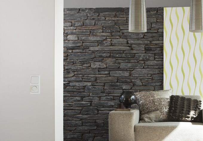 Brigitte home vliestapete grau wei wall for Mustertapete grau