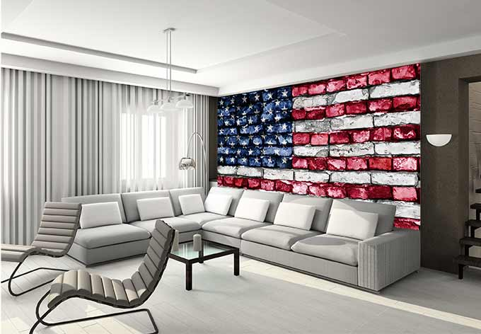 Fototapete stars and stripes mauer von k l wall art wall - Vliestapete jugendzimmer ...