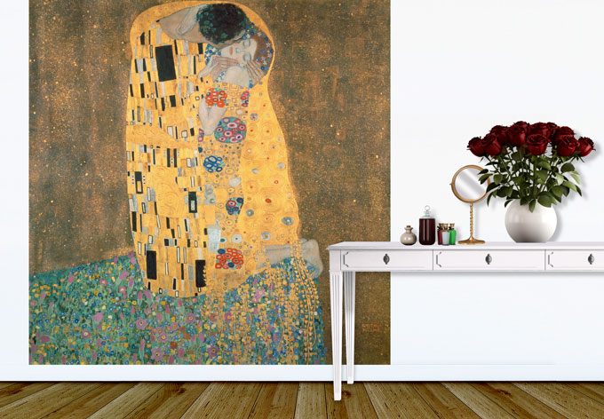 kunstdruck fototapete gustav klimt der kuss als dekoration wall. Black Bedroom Furniture Sets. Home Design Ideas