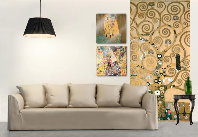 kunstdruck fototapete gustav klimt der lebensbaum als dekoration wall. Black Bedroom Furniture Sets. Home Design Ideas