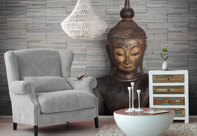 Fotobehang thailand boeddha wall - Behang ingang gang ...