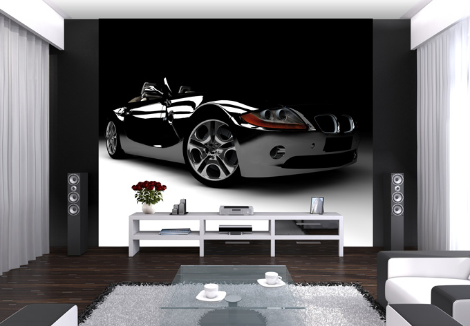 Selbstklebende Tapete Cars : Fototapete Black Car – Stylisches Auto im Silber Look wall-art.de