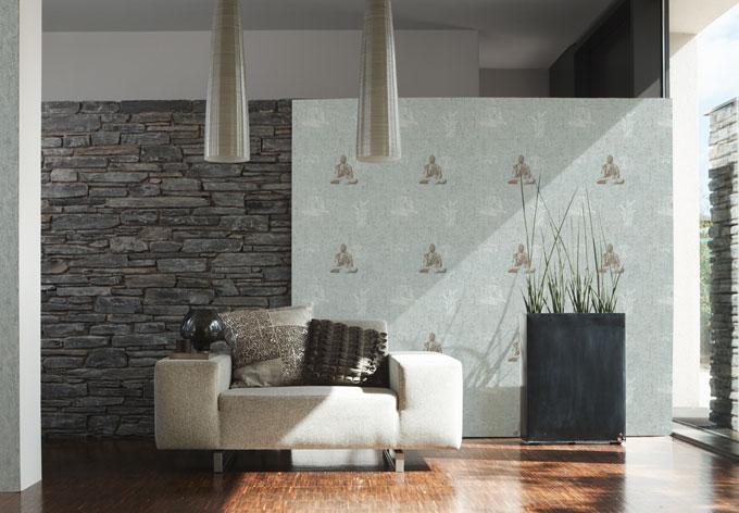a s cr ation tapete cocktail 2 blau braun gr n wall. Black Bedroom Furniture Sets. Home Design Ideas