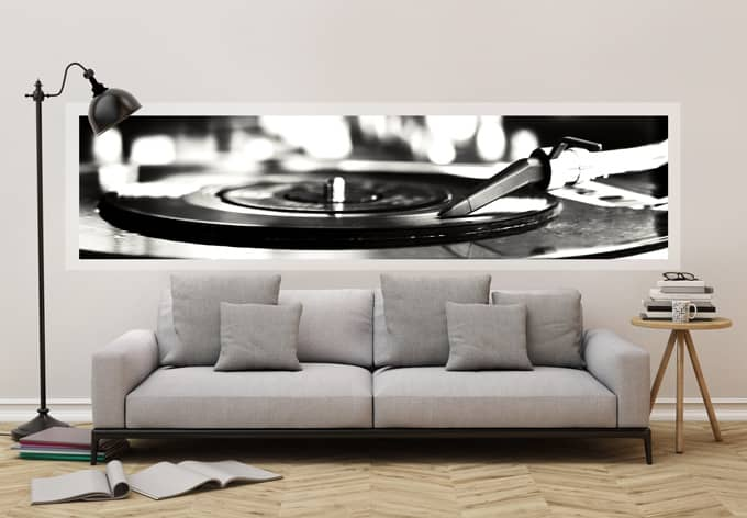 fototapete vinyl records on turntable panorama wall. Black Bedroom Furniture Sets. Home Design Ideas