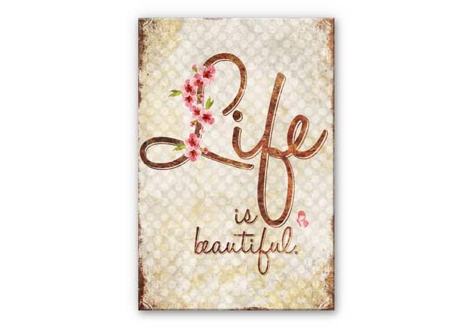 wanddecoratie hdf life is beautiful wall. Black Bedroom Furniture Sets. Home Design Ideas
