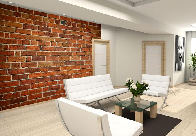 Vliesbehang bakstenen muur rol wall for Wat kost een rol behang