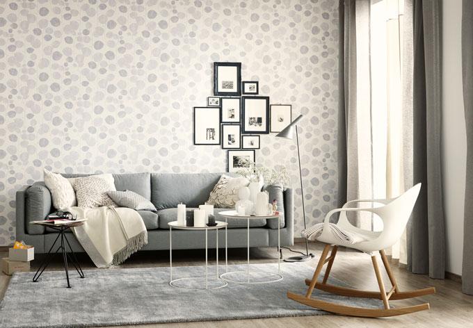 sch ner wohnen vliestapete creme grau wei wall. Black Bedroom Furniture Sets. Home Design Ideas