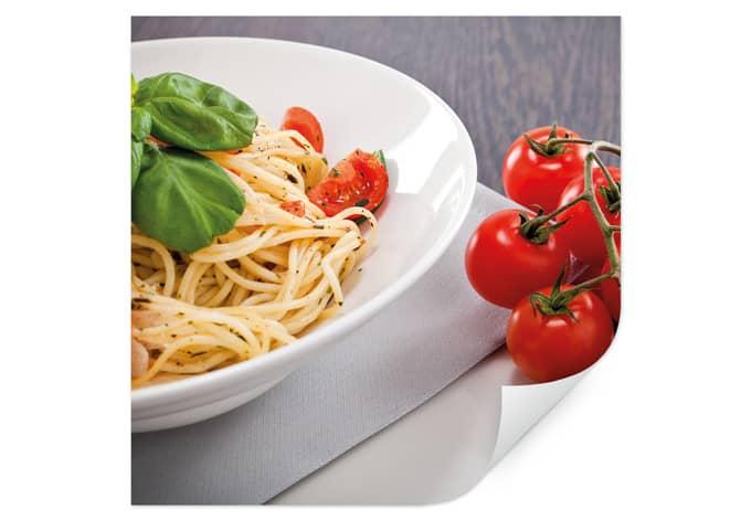 Italiaanse Keuken Teksten : muurprints italiaanse pasta vierkant de italiaanse keuken
