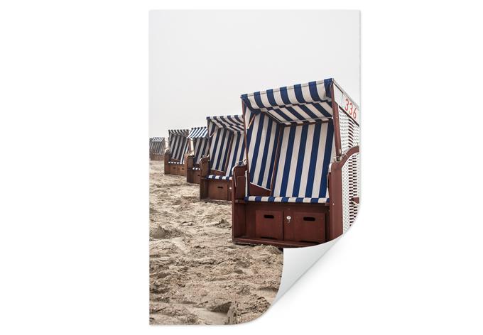 muurprints strandstoelen strandstoelen als zelfklevende muurprint