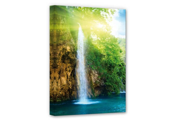 Canvas Blauwe Waterval - wall-art.nl
