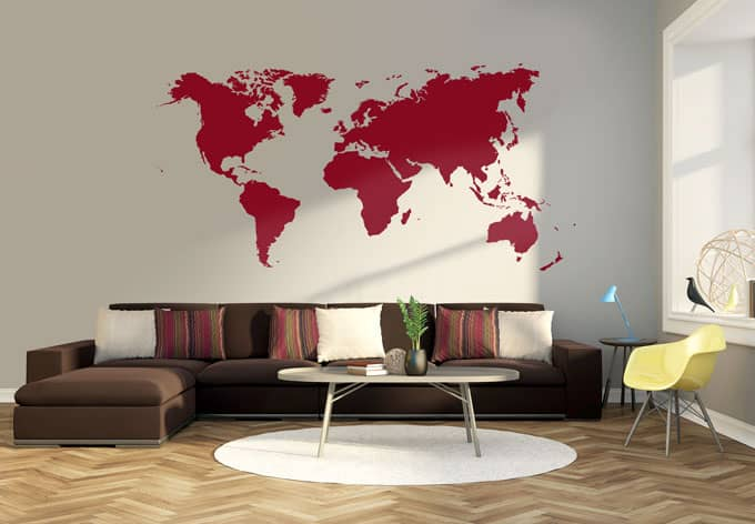 sticker mural mappemonde wall. Black Bedroom Furniture Sets. Home Design Ideas